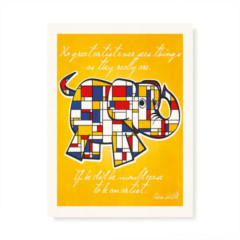Mondrian Elephant Kids' Colour Print