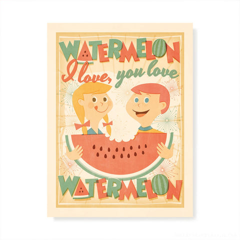 I Love, You Love Watermelon Kids' Colour Print