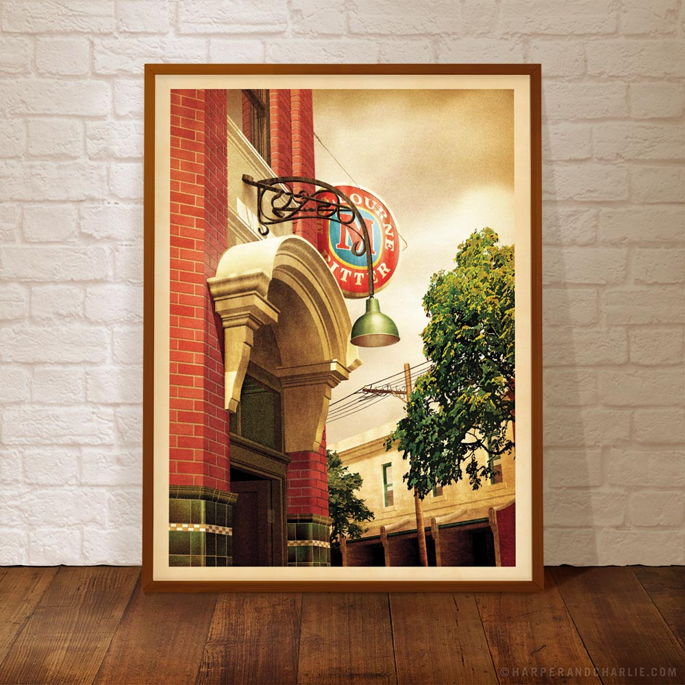 Napier Hotel Fitzroy colour print framed by Harper and Charlie