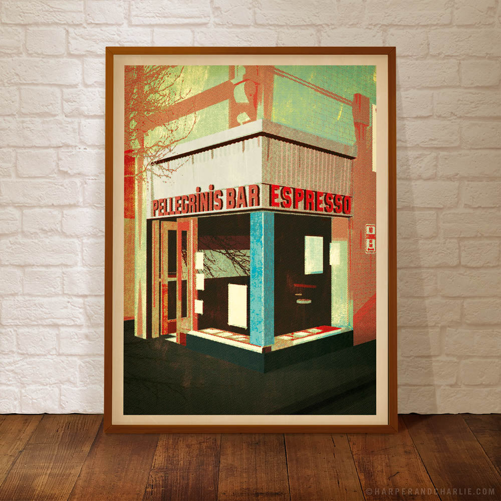 pellegrinis Melbourne colour print green framed by Harper and Charlie