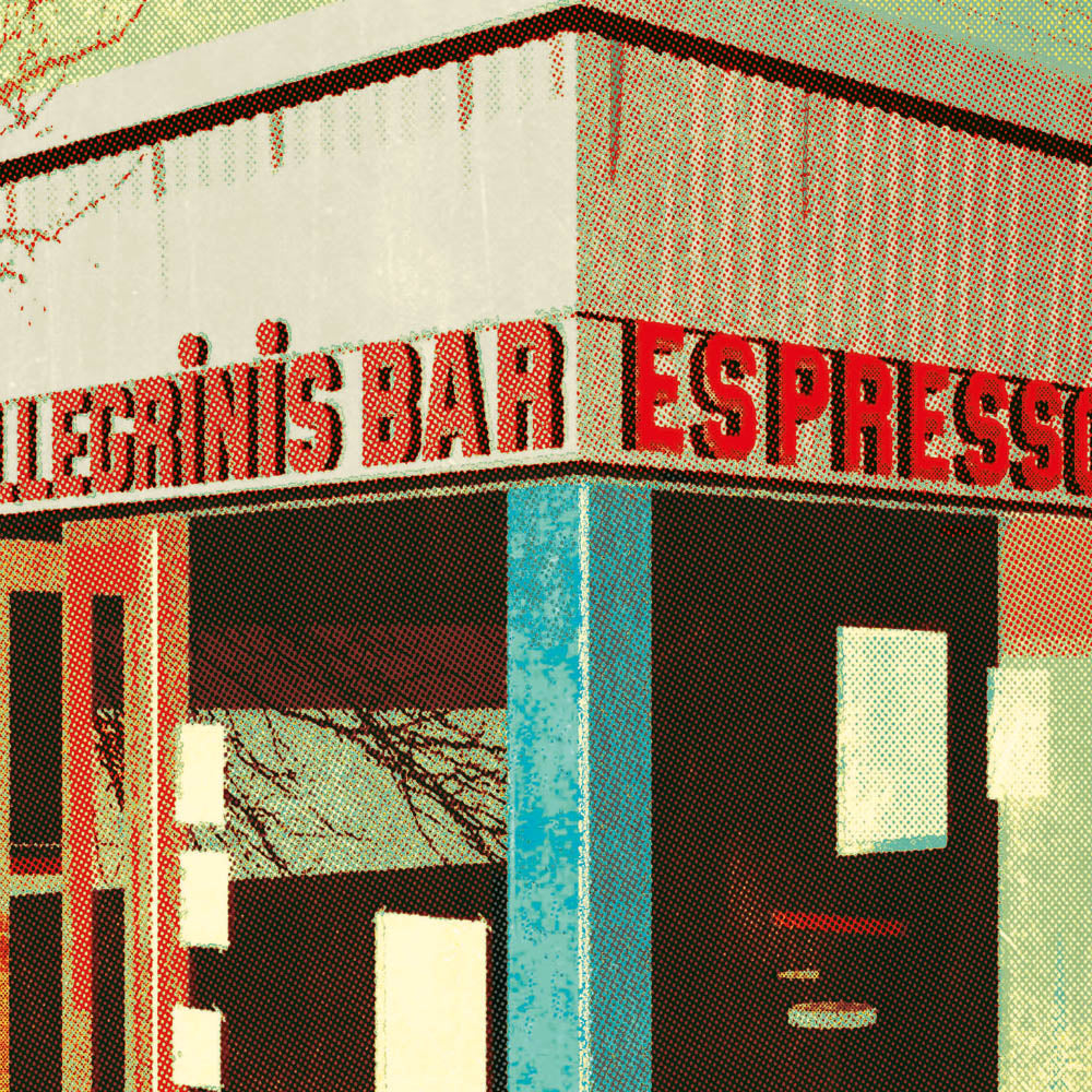 Pellegrinis bar Melbourne colour print green close up view by Harper and Charlie