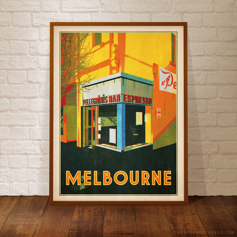 pellegrinis melbourne colour print yellow framed by Harper and Charlie