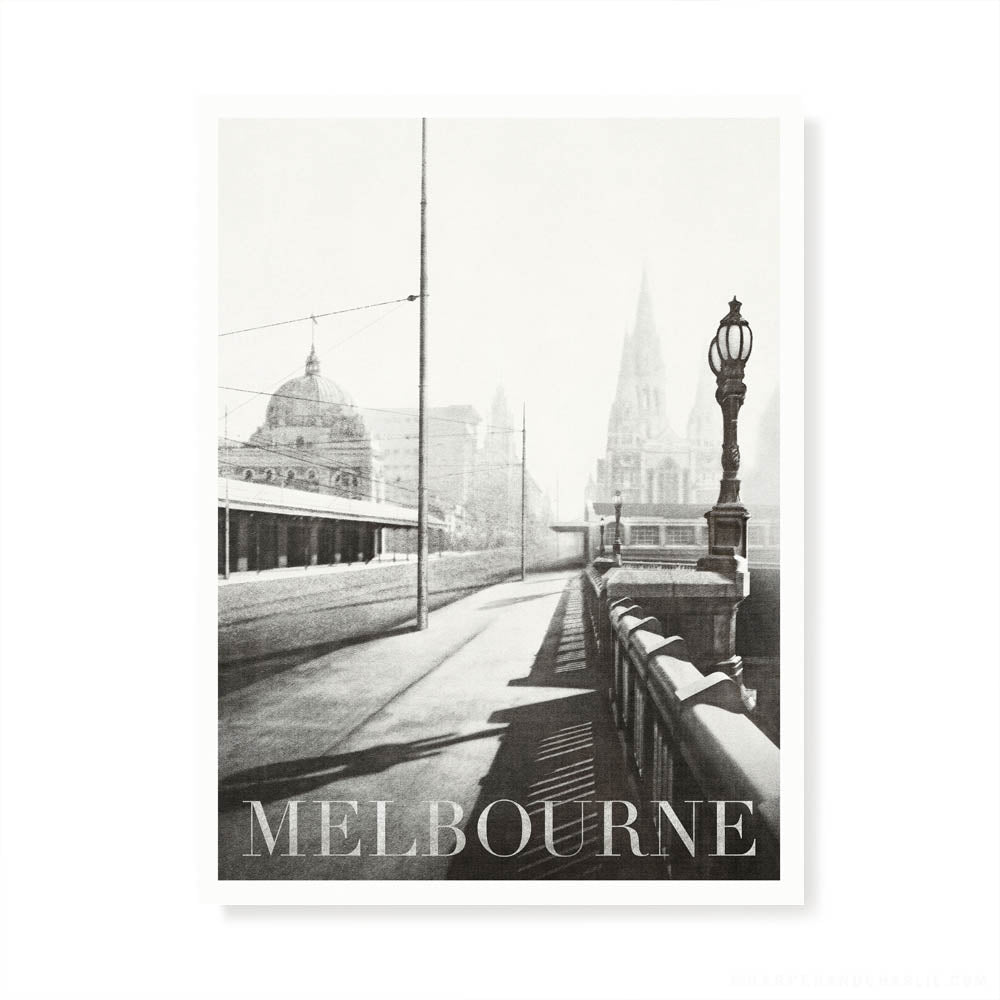 Princes Bridge Melbourne Black and White Print by Harper and Charlie