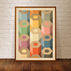 Coloured Pencils Geometric Pattern Kids' Colour Print