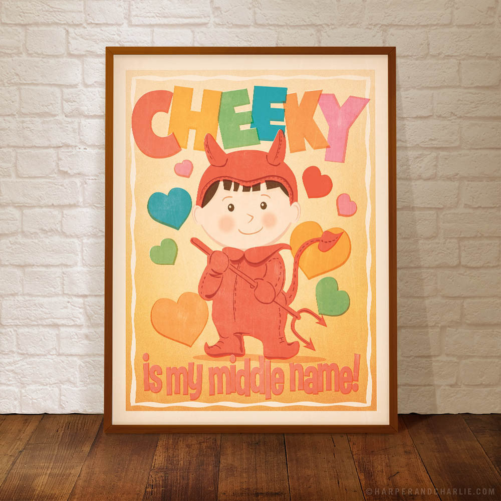 Cheeky Is My Middle Name Kids' Colour Print