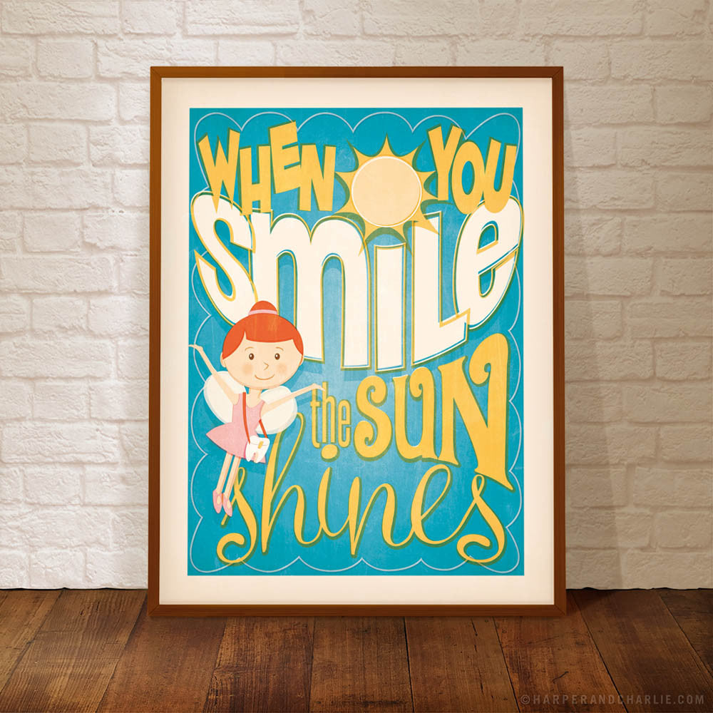 When You Smile The Sun Shines Kids' Colour Print