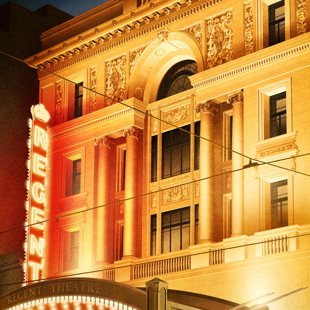 Regent Theatre Melbourne Portrait Colour Print Close Up