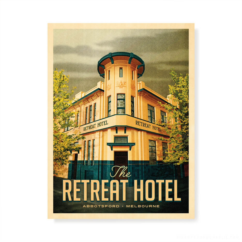 The Retreat Hotel, Abbotsford colour print by Harper and Charlie