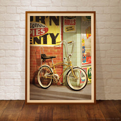 Saturday Afternoon gold Dragster bike print framed by Harper and Charlie