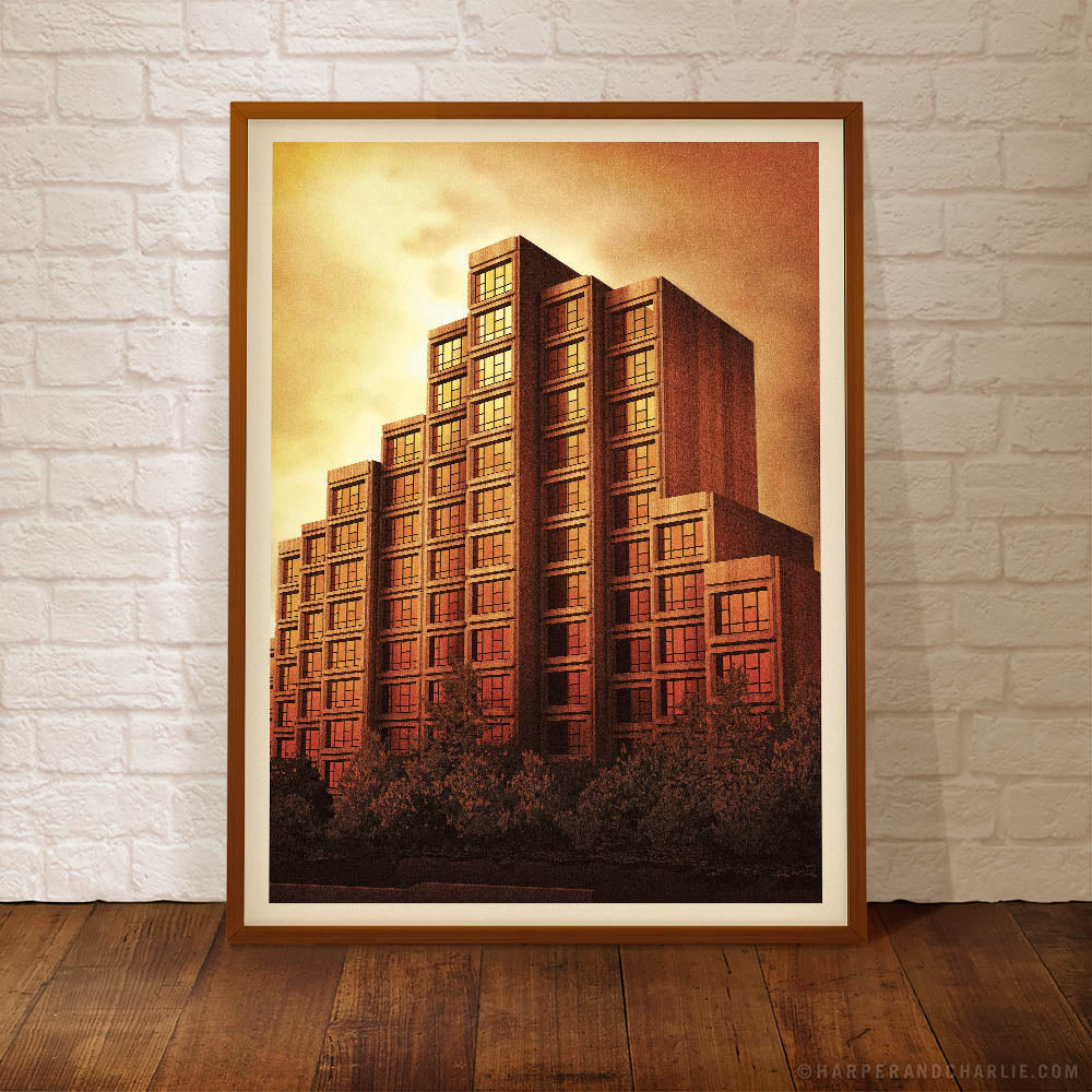 Sirius Building The Rocks Sydney orange sky colour poster