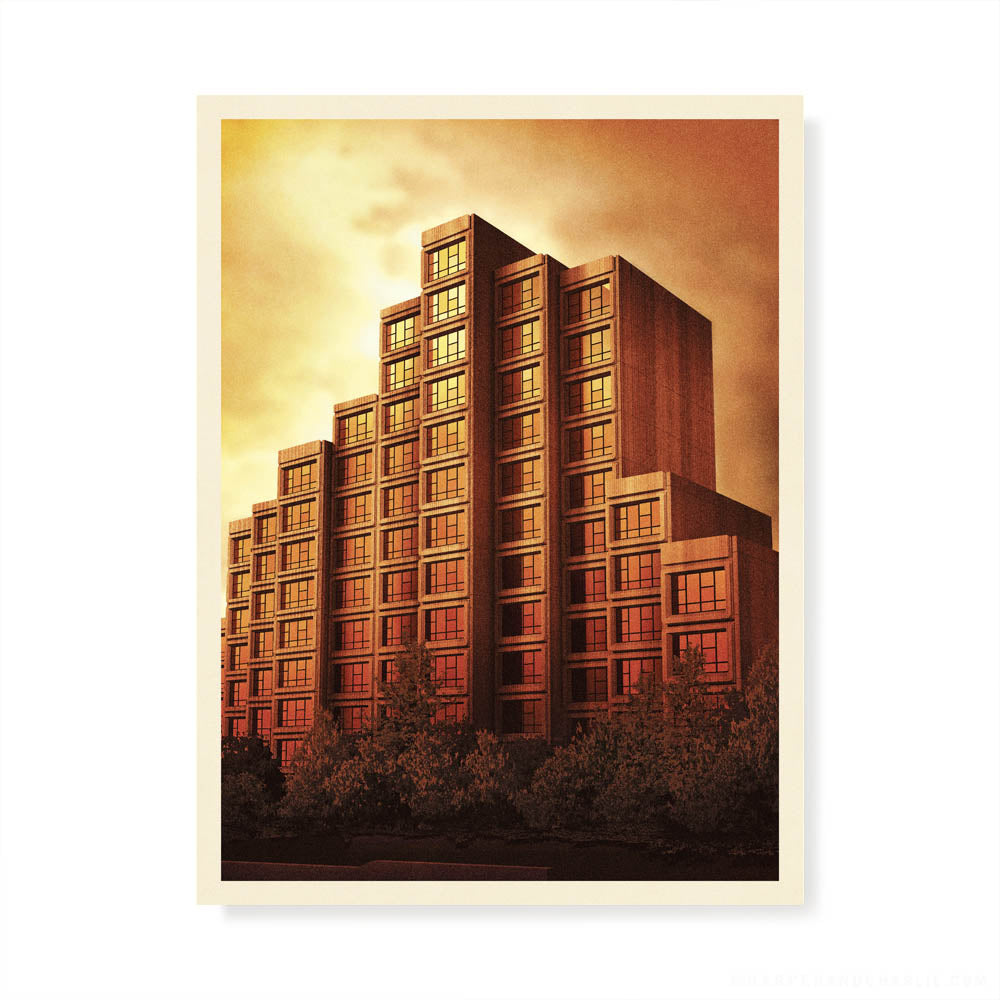 Sirius Building The Rocks Sydney orange sky colour print