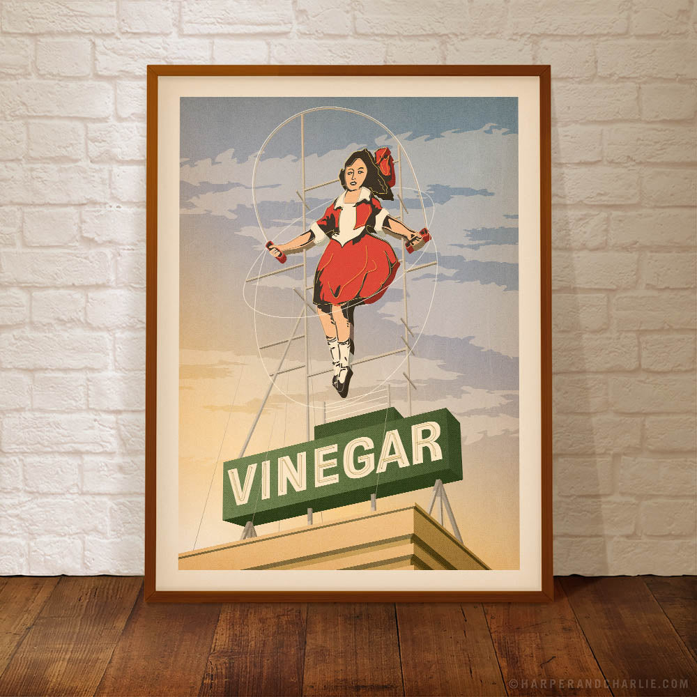 Skipping Girl Vinegar Sign Melbourne colour print sunset sky