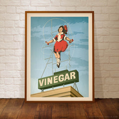 Skipping Girl Vinegar Melbourne poster blue sky