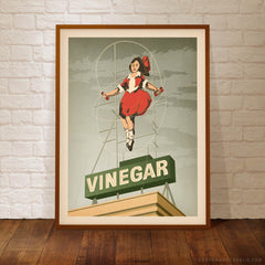 Skipping Girl Vinegar Melbourne poster grey sky