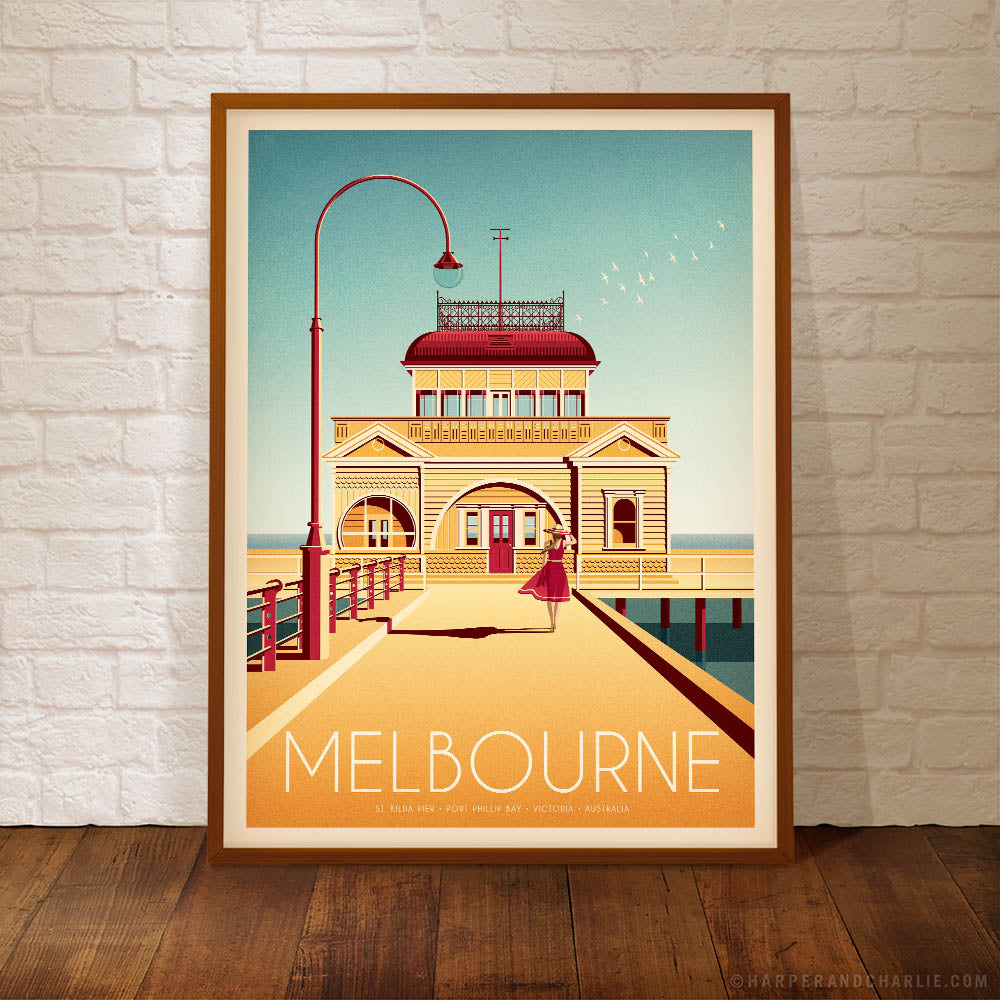 St Kidla Pier, Melbourne colour poster by Harper and Charlie