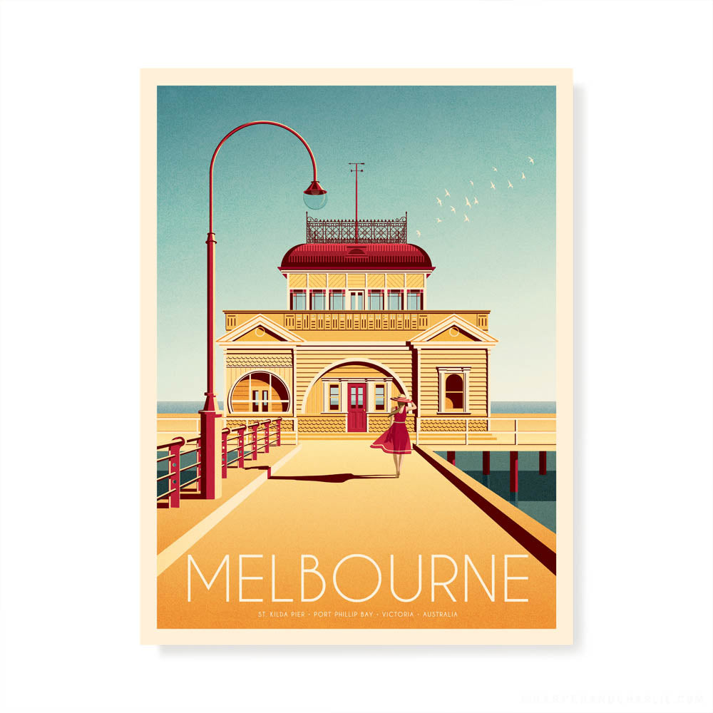 St Kilda Pier Melbourne colour print by Harper and Charlie