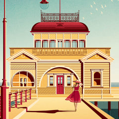 St Kilda Pier, St Kilda colour print closeup view by Harper and Charlie