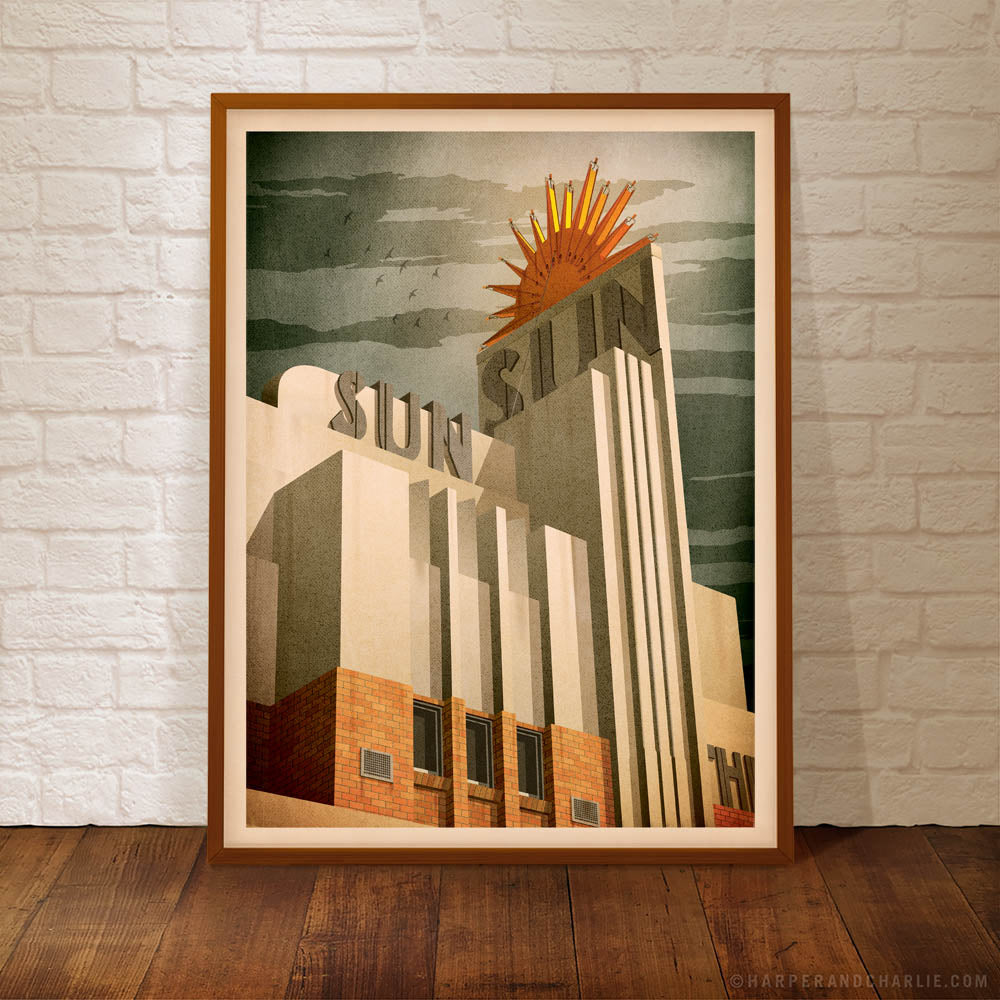 Sun Theatre Yarraville Colour Print framed by Harper and Charlie