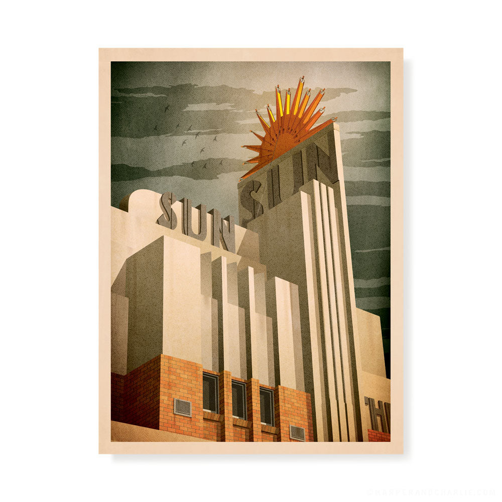 Sun Theatre, Yarraville colour print