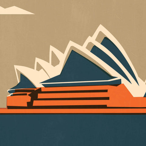 Sydney Opera House Colour Print Ochre Sky Close Up