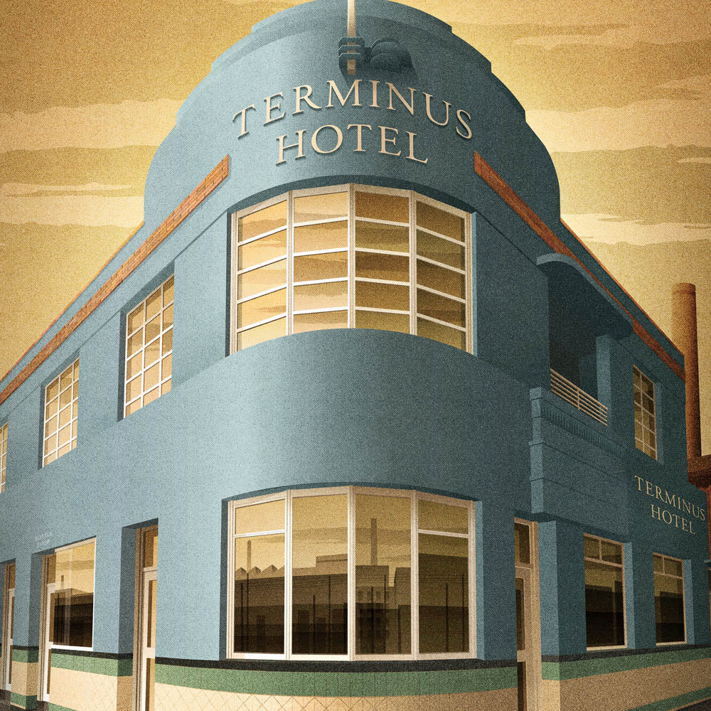 Terminus Hotel, Abbotsford colour print close up by Harper and Charlie