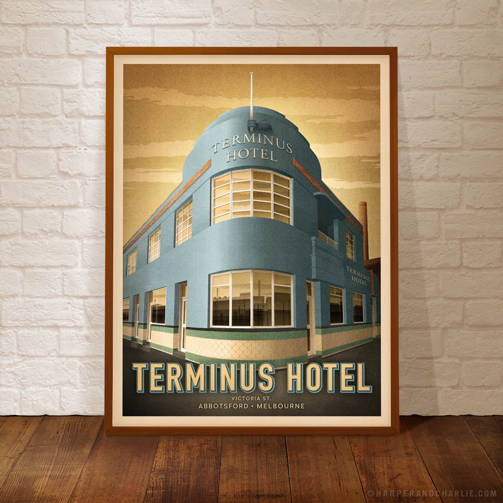 Terminus Hotel, Abbotsford colour print framed by Harper and Charlie