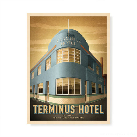 Terminus Hotel, Abbotsford colour print by Harper and Charlie