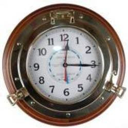 Brass Porthole Tide/Time Clock 13""