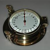 Brass 24 Hour Porthole Clock 9""