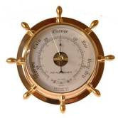 Brass Ship's Wheel Barometer 9.5""