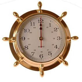 Brass Ship's Wheel Clock 9.5""