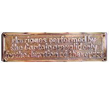 "Brass Sign ""Marriages Performed ..."""