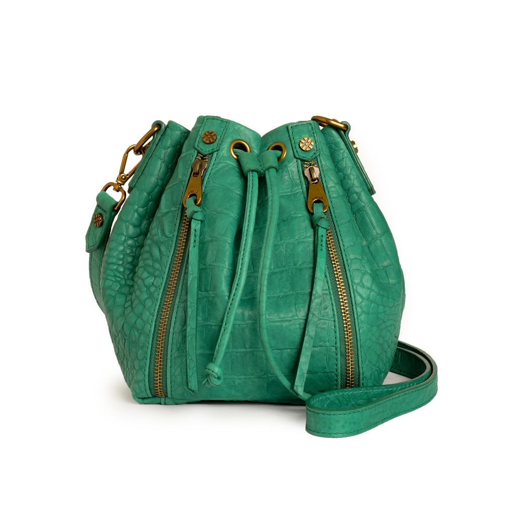 Joelle Hawkens Dakota Bucket Bag Aqua Leather Front