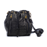 Joelle Hawkens Dakota Bucket Bag Black Leather Front
