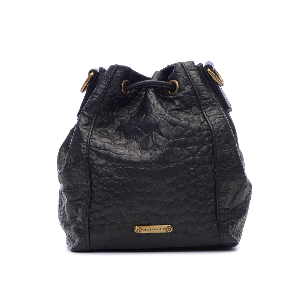 Joelle Hawkens Dakota Bucket Bag Black Leather Back