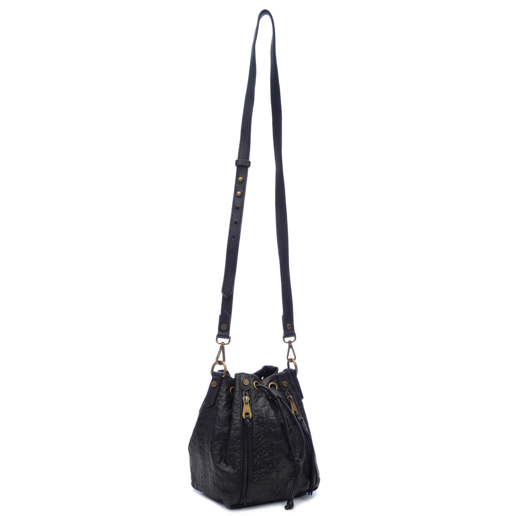 Joelle Hawkens Dakota Bucket Bag Black Leather Side