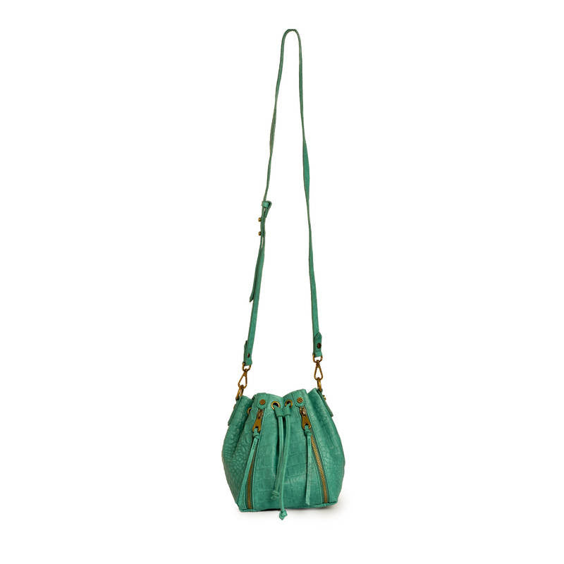 Joelle Hawkens Dakota Bucket Bag Aqua Leather Strap