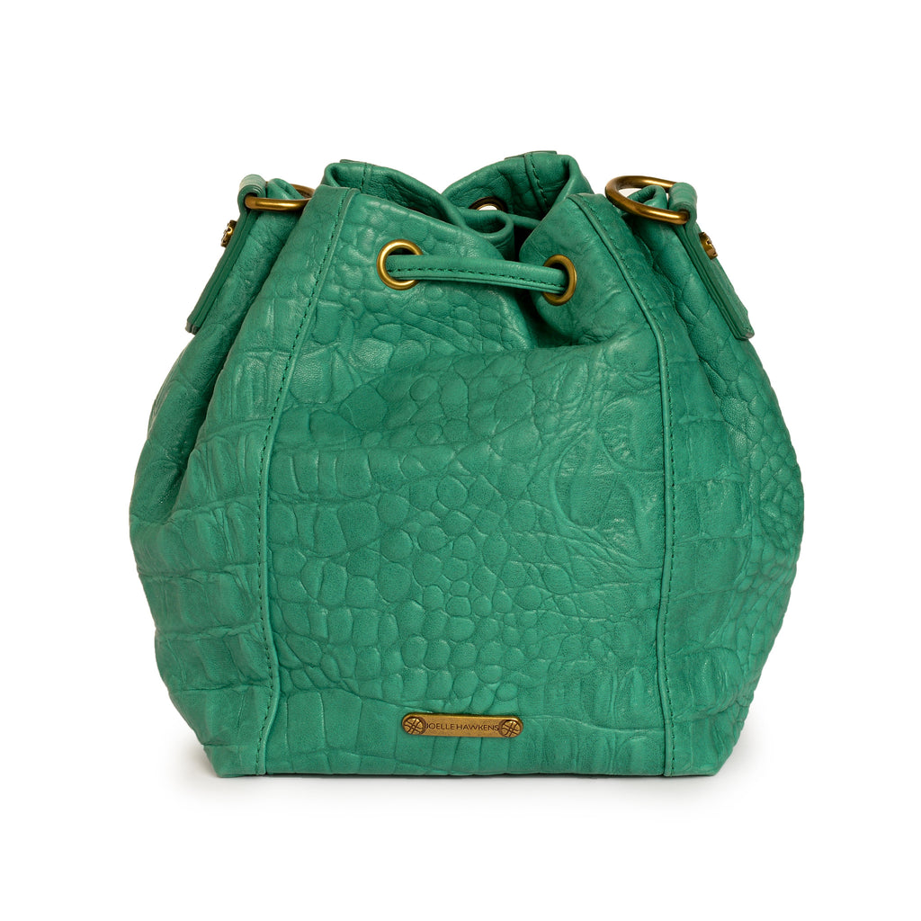 Joelle Hawkens Dakota Bucket Bag Aqua Leather Back