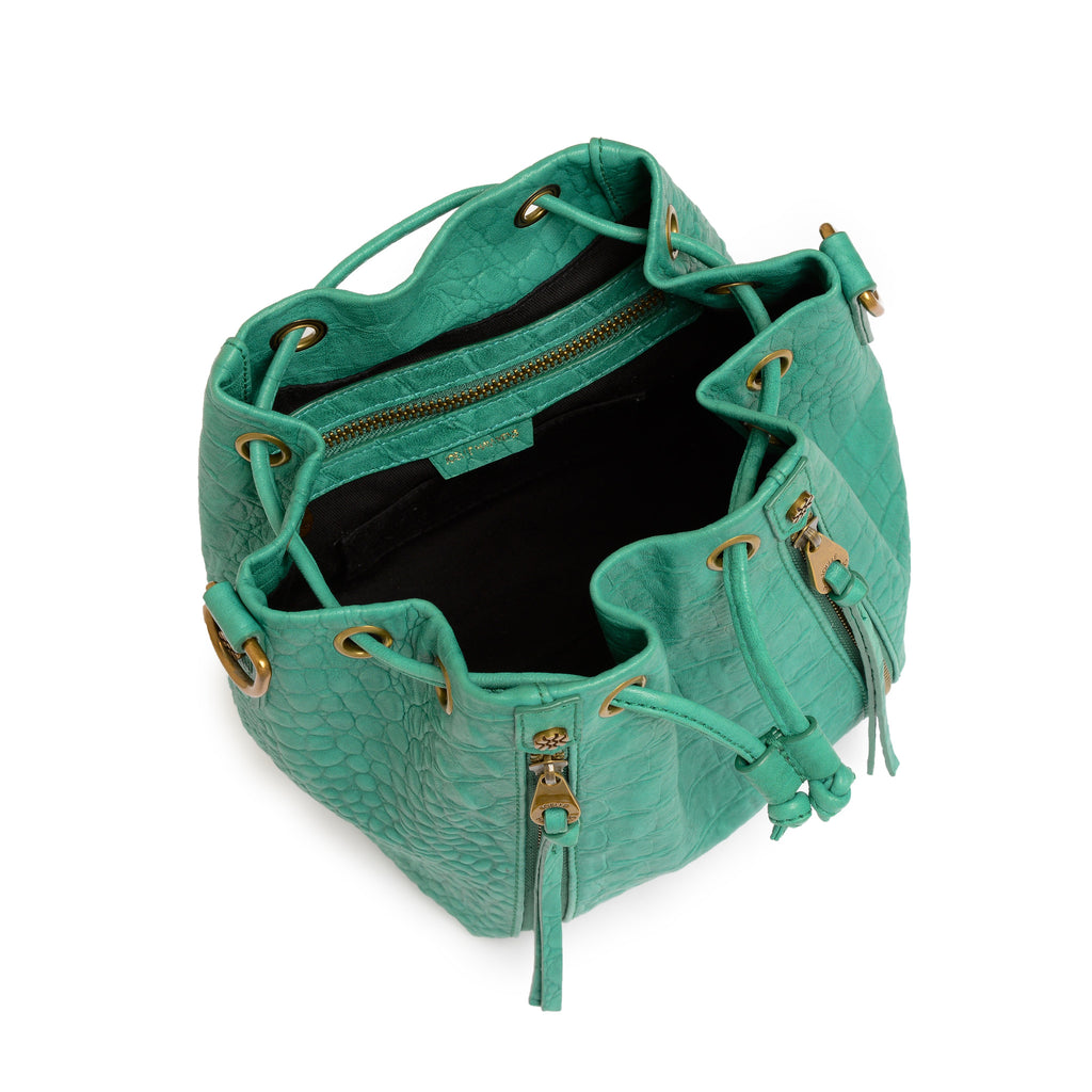 Joelle Hawkens Dakota Bucket Bag Aqua Leather Interior