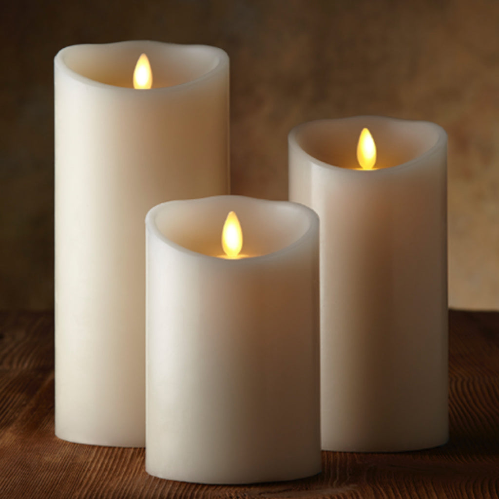 TR95002 Premium Real Flame Effect Set of 3 Candles with timer (3.5 inch diameter)and remote control