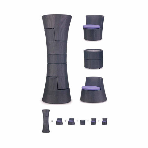 TR10007 4 seater CURVE stackable Outdoor Set