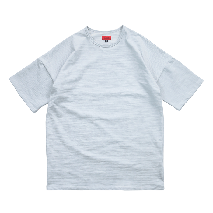 Textured Drop Shoulder Boxy Tee - Light Blue