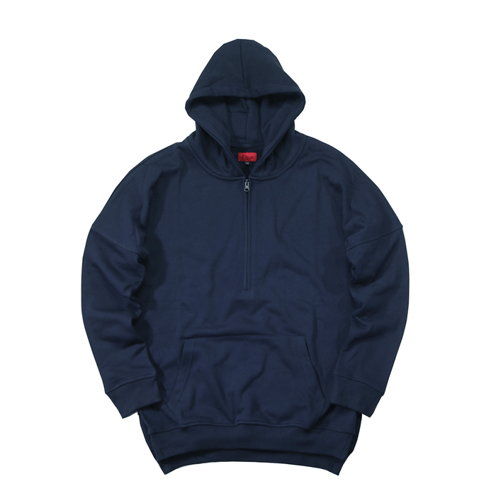 Side Cut Quarter Zip - Hoodie - Navy