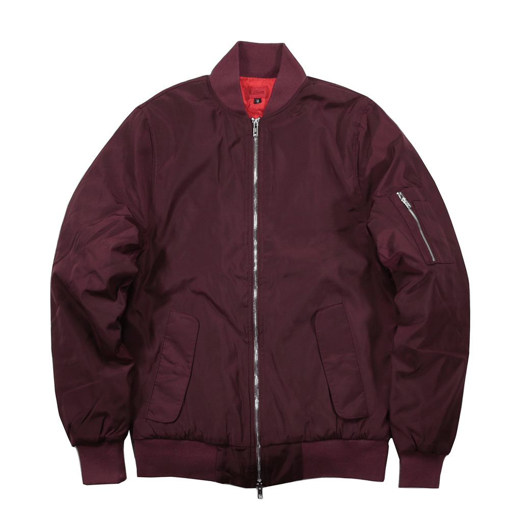 Genoeg Standard Issue MA-1 Bomber Jacket - Wine Red &OW45