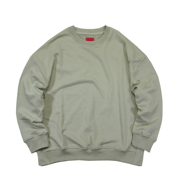 Oversized Side Cut Crewneck - Pale Olive