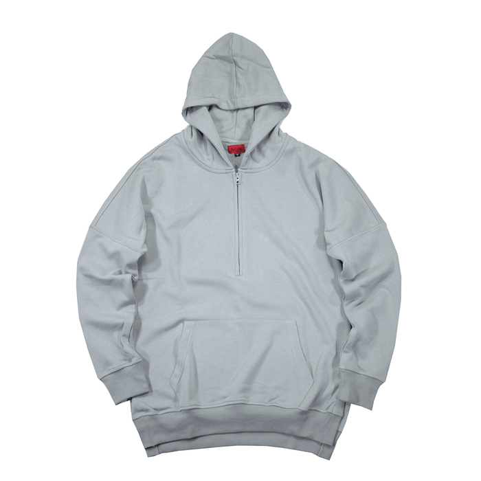 Side Cut Quarter Zip Hoodie - Cement