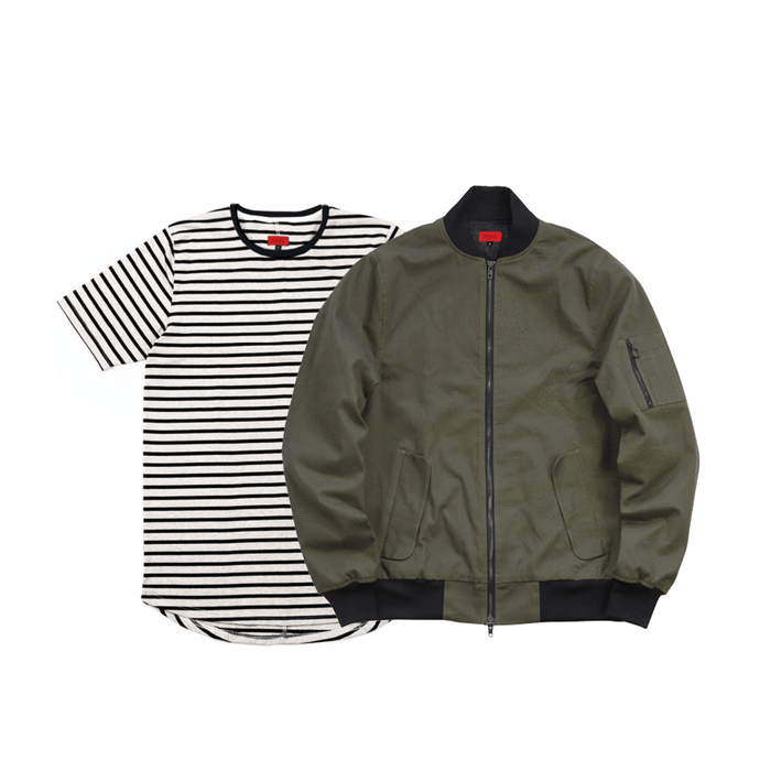 2-Pack Bomber Jacket/Mulberry Stripe Tee