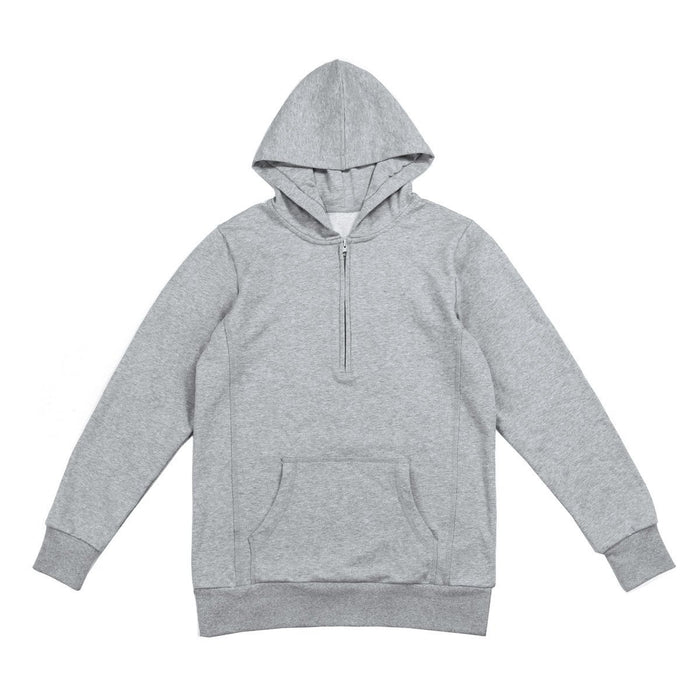 Fall Half Zip Pullover Hoodie - Heather Grey