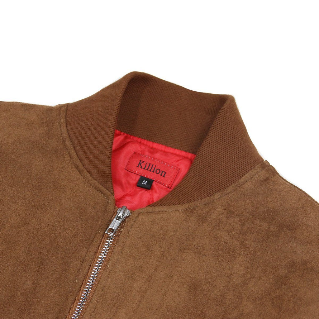 Suede MA-1 Bomber Jacket - Brown