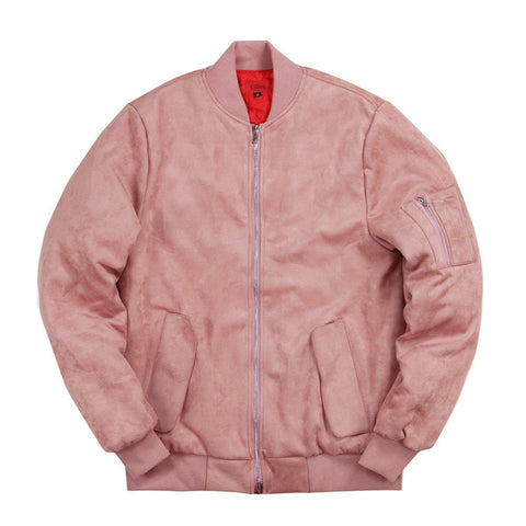 Suede MA-1 Bomber Jacket - Peach